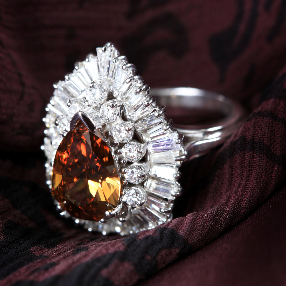 Chocolate Shield Diamond Ring (3.21 ct Pear Fancy Brown Diamond) in White Gold