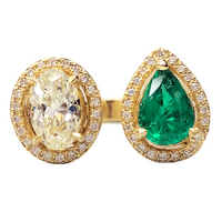 Peek-a-Boo Diamond & Emerald Ring (2.87 ct Emerald & Diamonds) in Yellow Gold