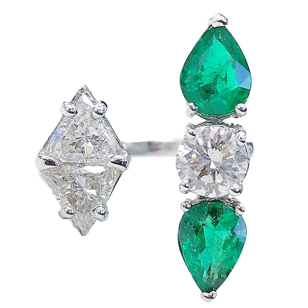 Peek-a-Boo Diamonds & Emeralds Shapes Ring (3.73 ct Emeralds & Diamonds) in White Gold