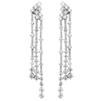 Big & Small Diamond Earrings (4.41 ct Diamonds) in White Gold