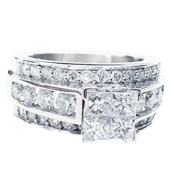 Princess Cluster Engagement Ring (3.00 ct Diamonds) in White Gold