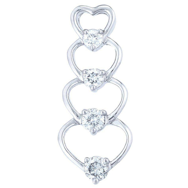 Journey Hearts Pendant (1.08 ct Diamonds) in White Gold