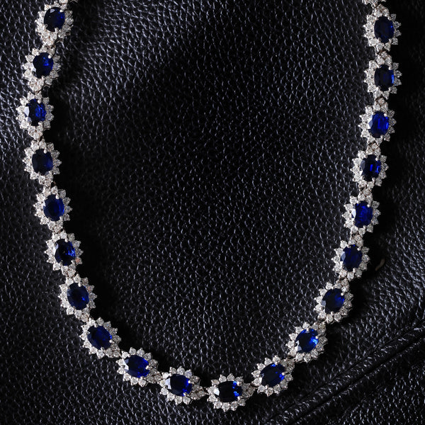 Starry Night Sapphire & Diamond Necklace (45.78 ct Sapphires & Diamonds) in White Gold