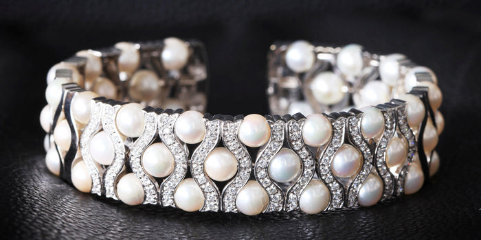 The Pearl & Diamond Cuff Bangle in White Gold