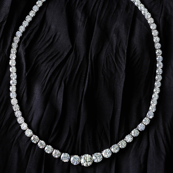 Graduated Riviera Diamond Tennis Necklace (45.33 ct Diamonds) in Platinum