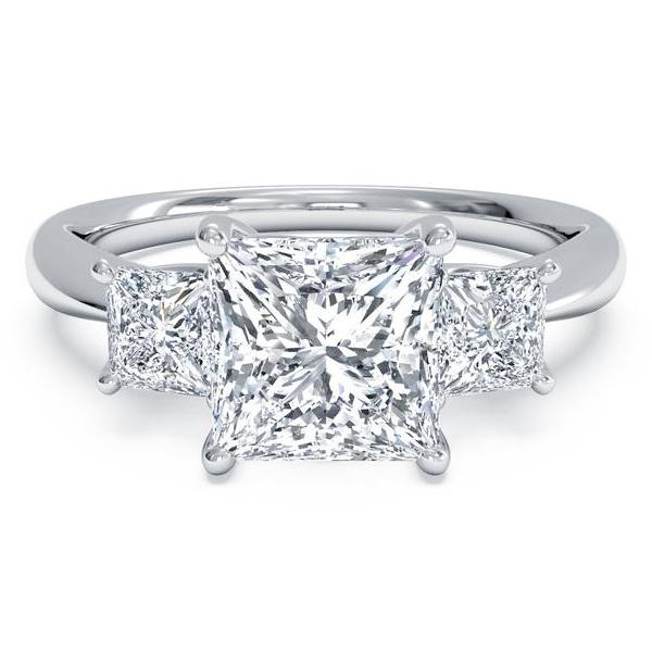 3 Stone Engagement Ring (4.05 Cushion ct JSI1 GIA Diamond) in Platinum