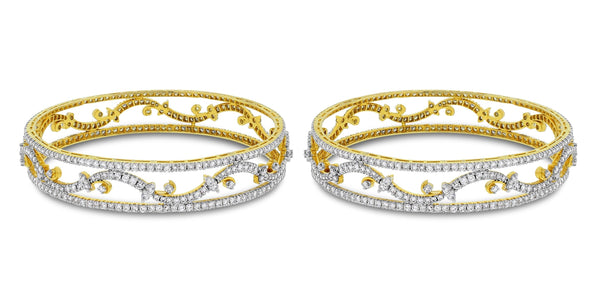 Bloom Diamond Bangles Set (14.15 ct Diamonds) in Gold
