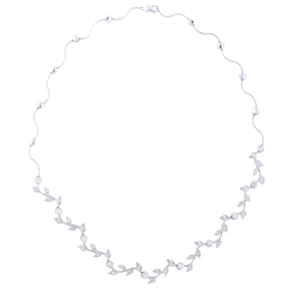 Grape Vine Necklace (1.25 ct Diamonds) in White Gold