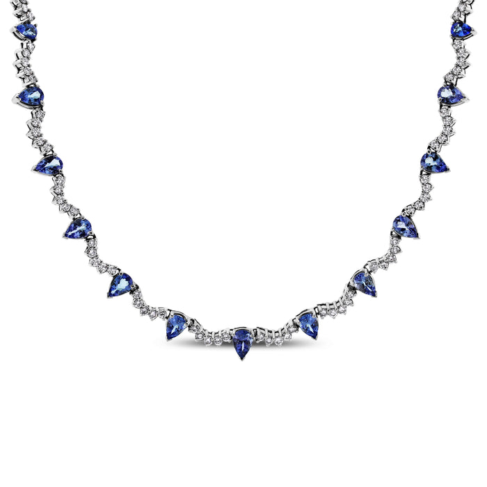 Princess Tanzanite Necklace (18.50 ct Tanzanites & Diamonds) in White Gold