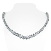 Traditional S-Bar Diamond Tennis Necklace (9.13 ct Diamonds) in White Gold