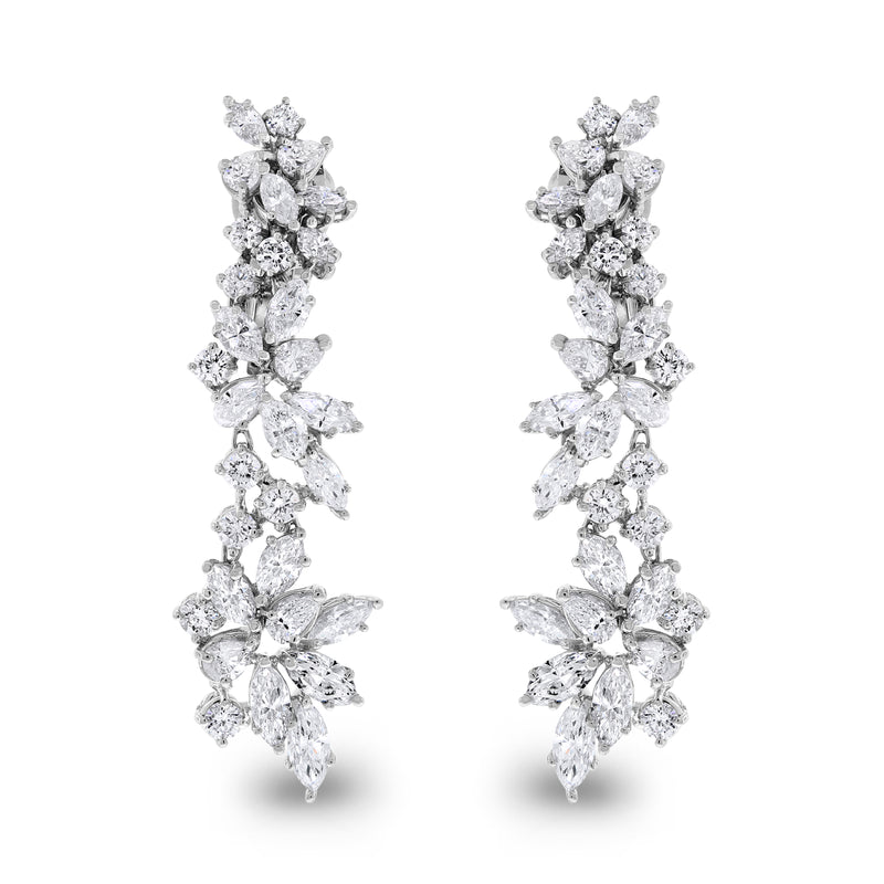 Charlotte Diamond Earrings (7.11 ct Diamonds) in White Gold