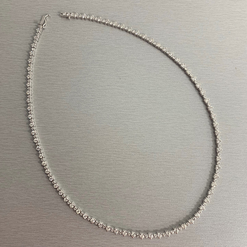 Big & Small Diamond Necklace (6.85 ct Diamonds) in White Gold