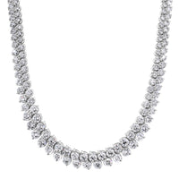 Graduated Angular Round Diamond Tennis Necklace (23.96 ct Diamonds) in White Gold