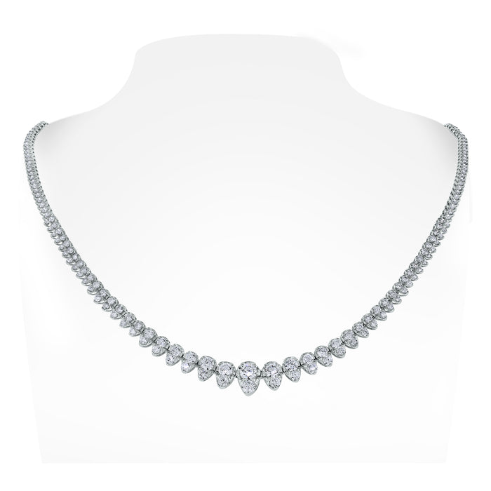 Graduated Pears Tennis Necklace (5.15 Diamonds) in White Gold