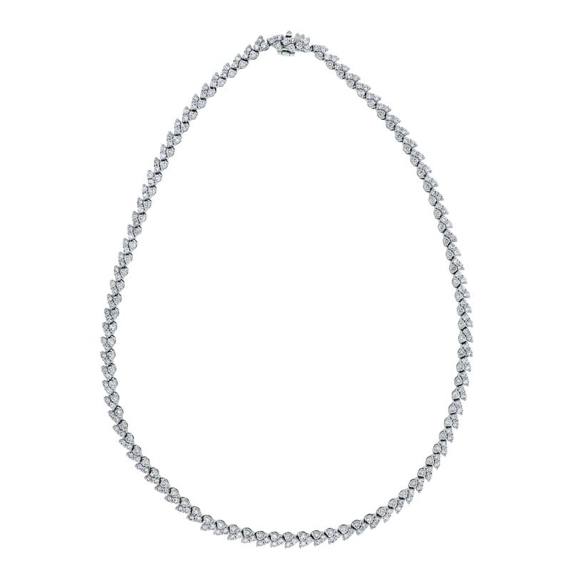 Directions Diamond Tennis Necklace (9.50 ct Diamonds) in White Gold