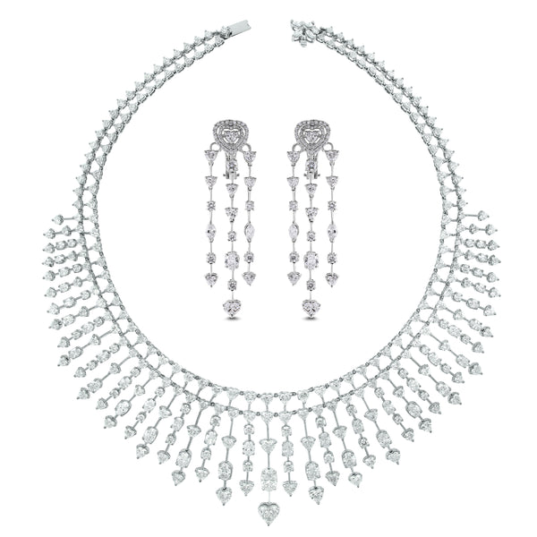 Hearts Necklace & Earrings Suite (58.44 ct Diamonds) in White Gold