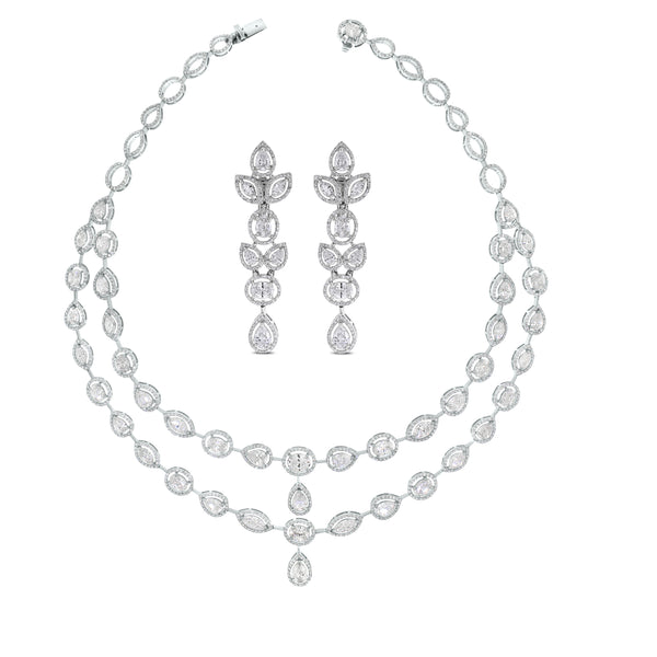 Tara Diamond Necklace & Earrings Suite (31.33 ct Diamonds) in White Gold