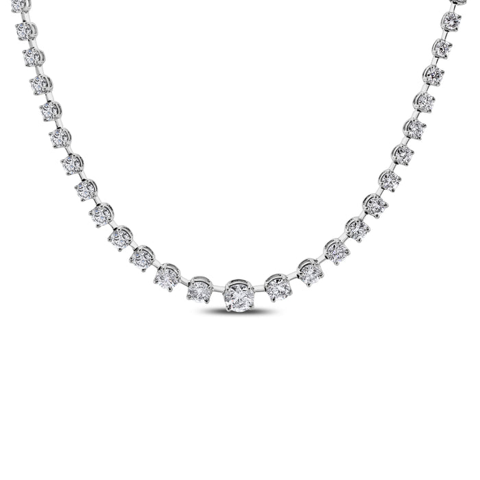 Graduated Space Riviera Tennis Necklace (17.78 ct Diamonds) in Platinum