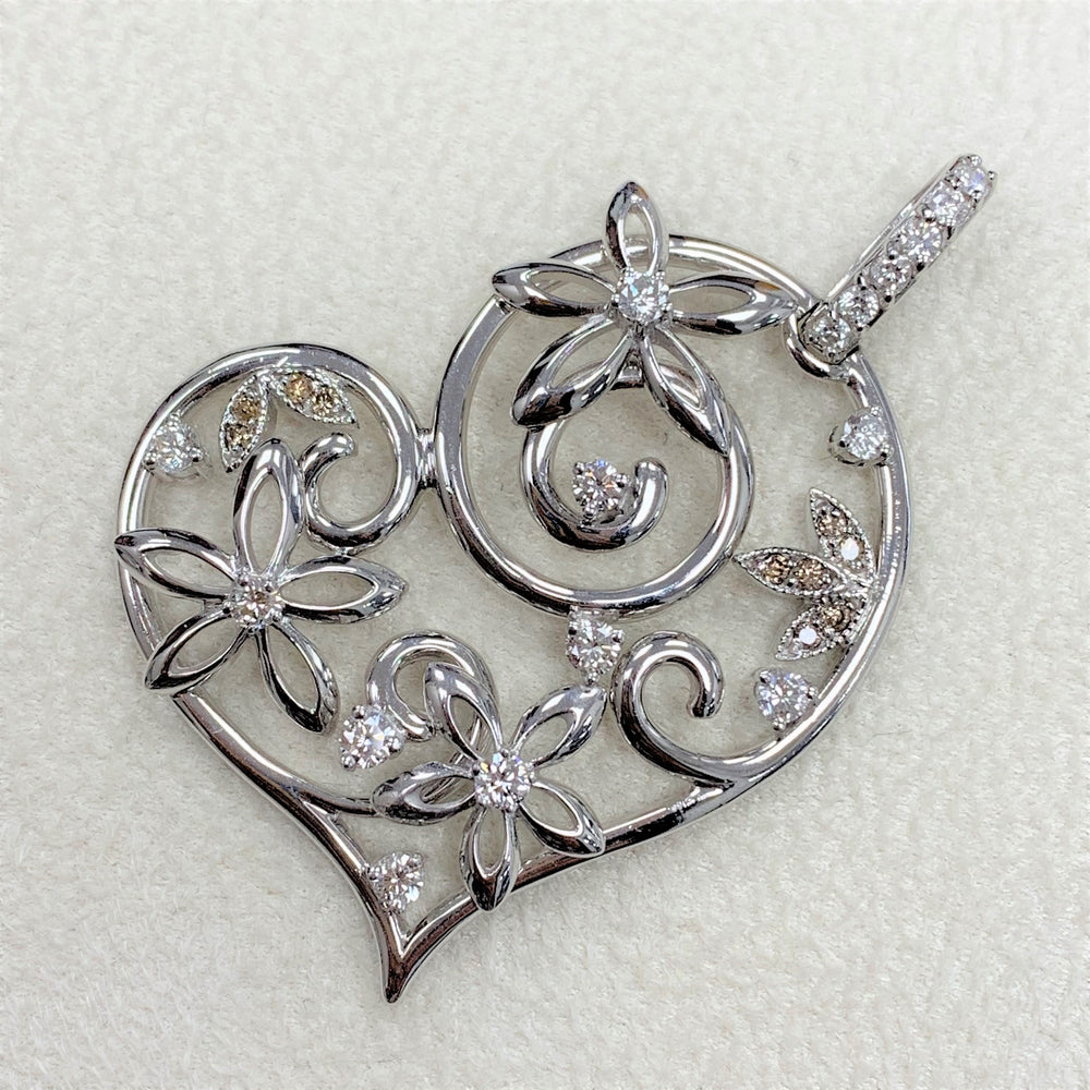 Bloom Heart Pendant (0.85 ct Diamonds) in White Gold