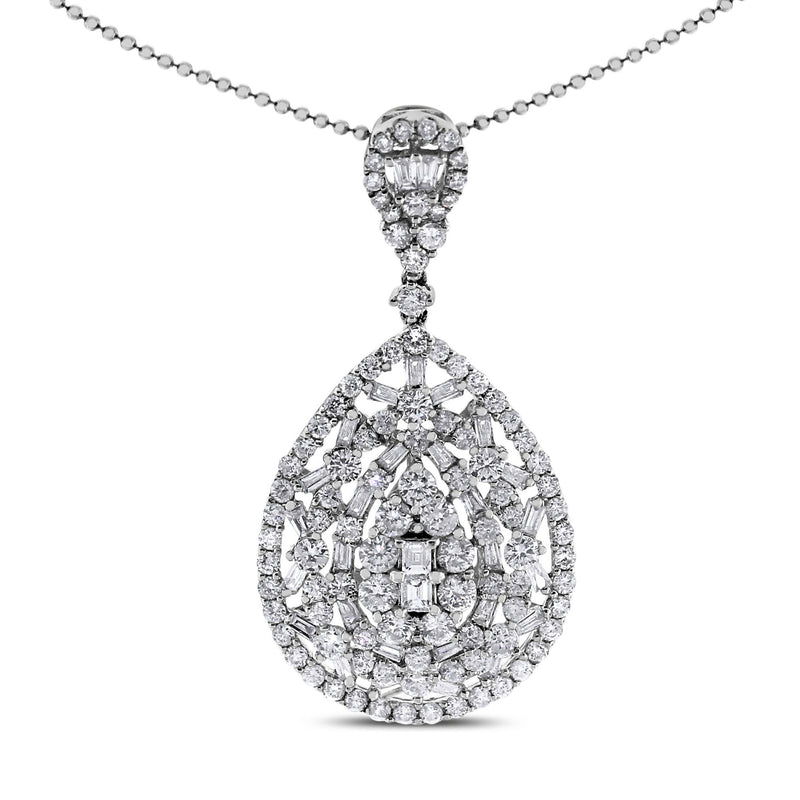 Olivia Drop Pendant (2.72 ct Diamonds) in White Gold