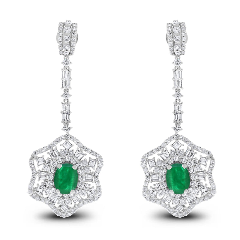 Jessica Diamond & Emerald Earrings (8.31 ct Emeralds & Diamonds) in White Gold