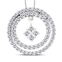 Bella Circles Diamond Pendant (3.38 ct Diamonds) in White Gold
