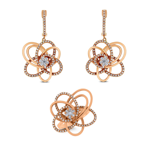 Bloom Diamond Earrings & Ring Suite (1.35 ct Diamonds) in Rose Gold