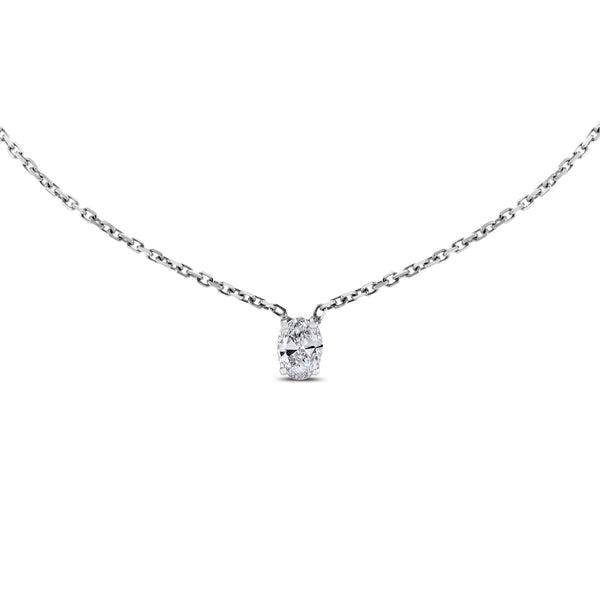 Oval Solitaire Pendant (0.80 ct Diamond) in White Gold