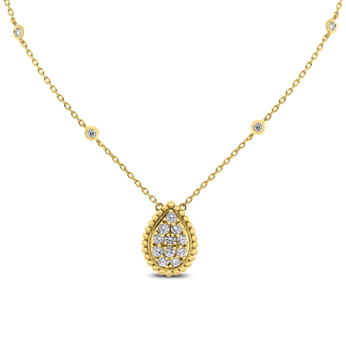 Pear Drop Pendant Necklace (0.85 ct Diamonds) in Yellow Gold