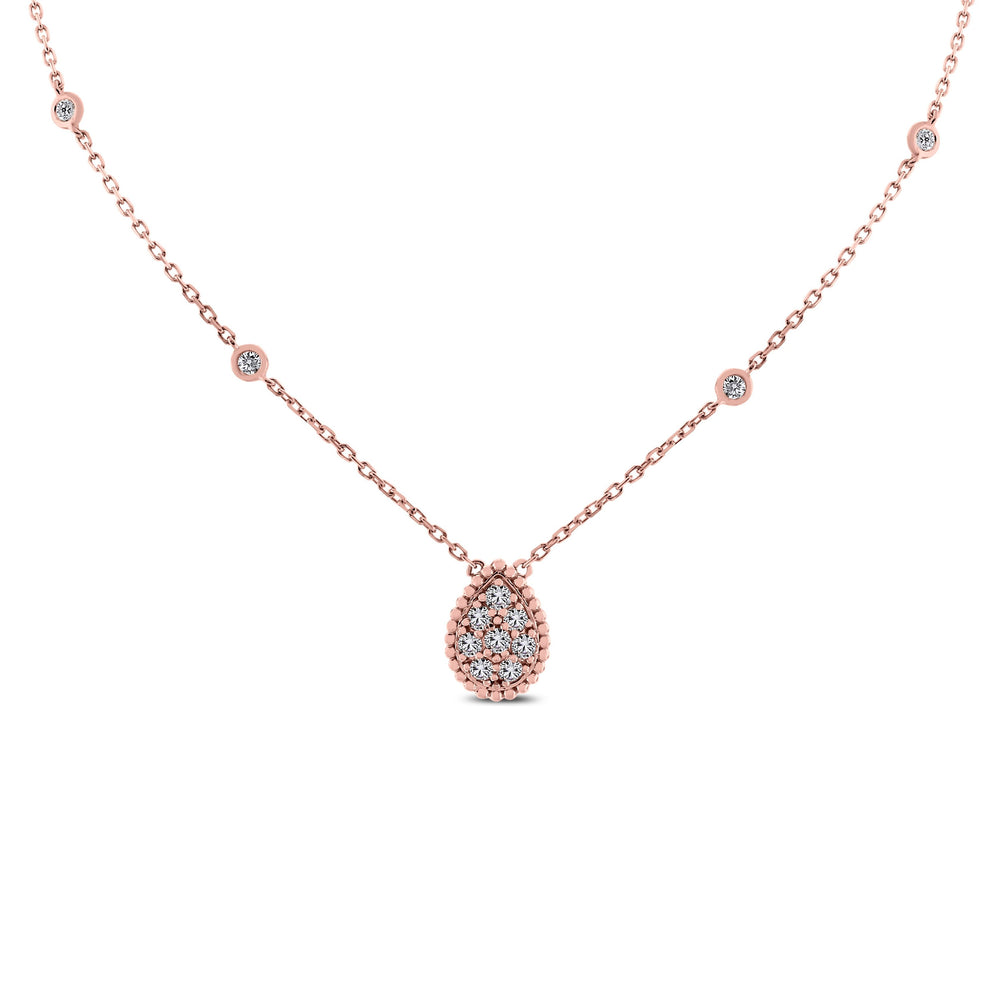 Pear Drop Mini Pendant Necklace (0.55 ct Diamonds) in Rose Gold