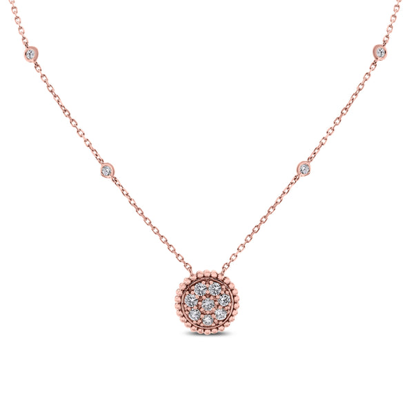 Round Pendant Necklace (0.70 ct Diamonds) in Rose Gold
