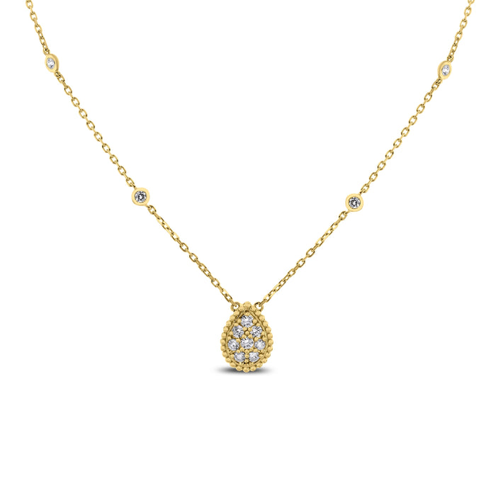 Pear Drop Mini Pendant Necklace (0.55 ct Diamonds) in Yellow Gold