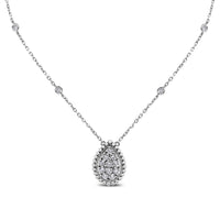 Pear Drop Pendant Necklace (0.85 ct Diamonds) in White Gold