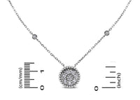 Round Pendant Necklace (0.70 ct Diamonds) in White Gold