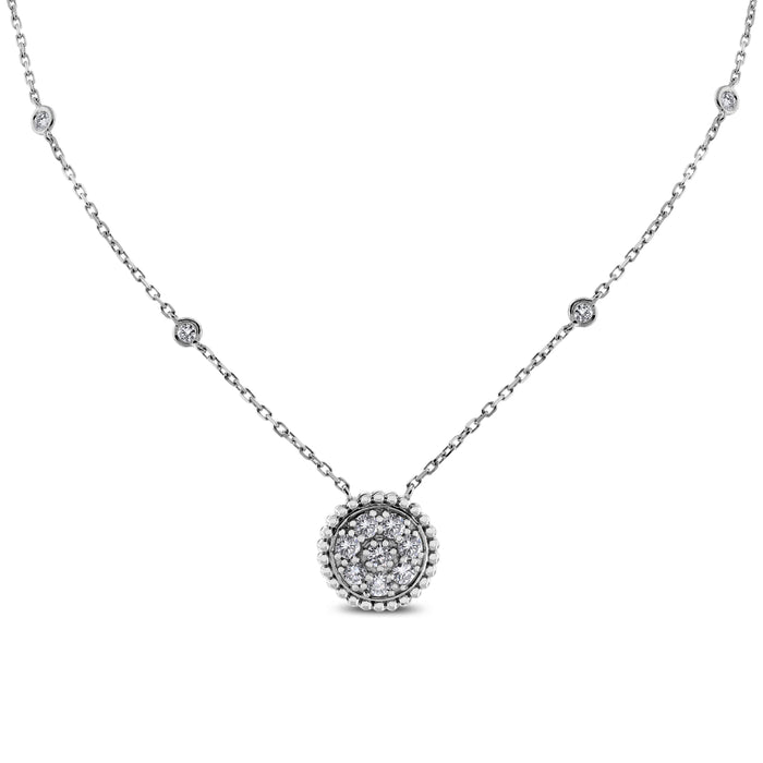 Round Pendant Necklace (0.70 ct) White Gold