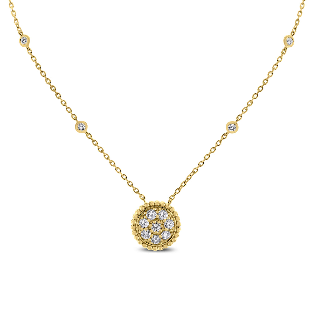 Round Pendant Necklace (0.70 ct Diamonds) in Yellow Gold