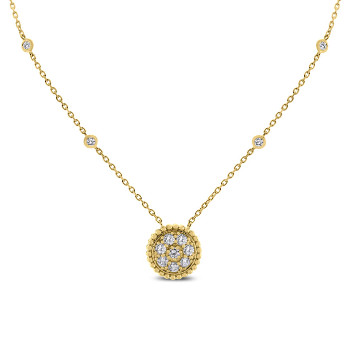Round Pendant Necklace (0.70 ct) Yellow Gold