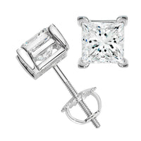 Princess Solitaire Diamond Studs (1.77 ct Diamonds) in White Gold