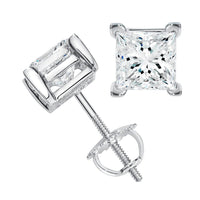 Princess Solitaire Diamond Studs (0.39 ct Diamonds) in White Gold
