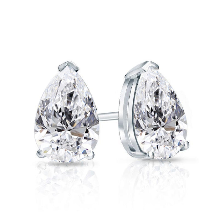Pear Shape Solitaire Diamond Studs (2.51 ct PS ISI2 GIA Diamonds) in White Gold