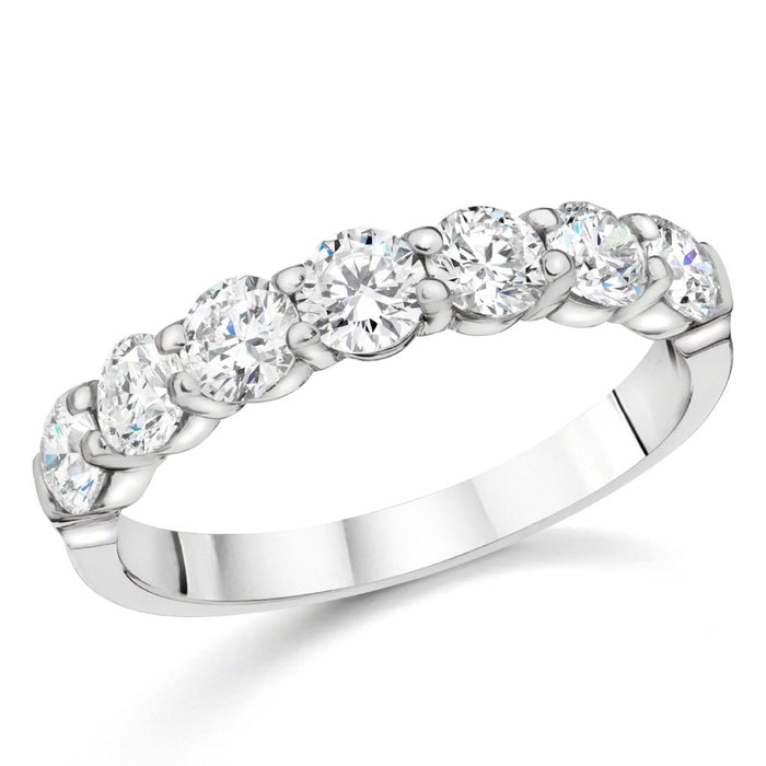 7 Stone Round Diamond Ring (1.12 ct Diamonds) in White Gold