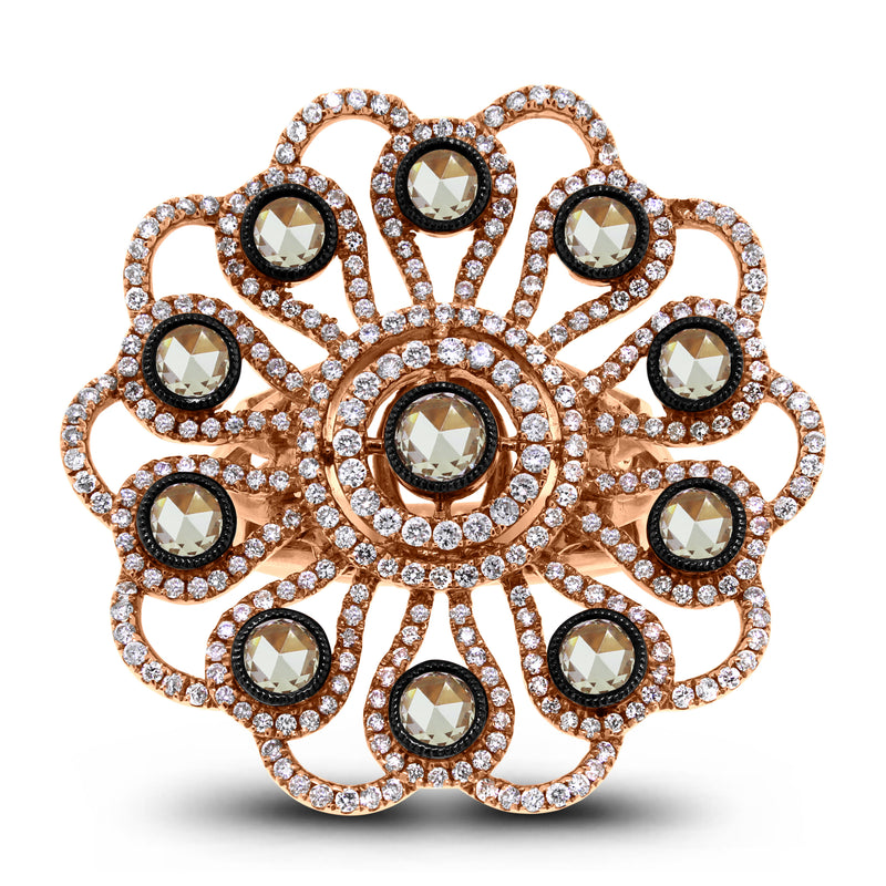 Flora Diamond Ring (2.11 ct Diamonds) in Rose Gold