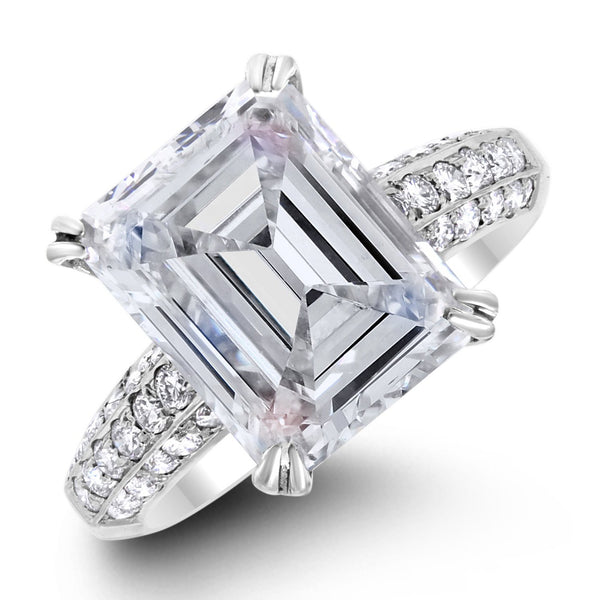 Ice Engagement Ring (5.01 Emerald Cut HSI2 GIA Diamond) in White Gold