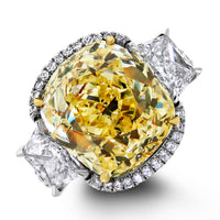 Elan Engagement Ring (9.77 ct Cushion Fancy Yellow VS1 GIA Diamond) in Platinum
