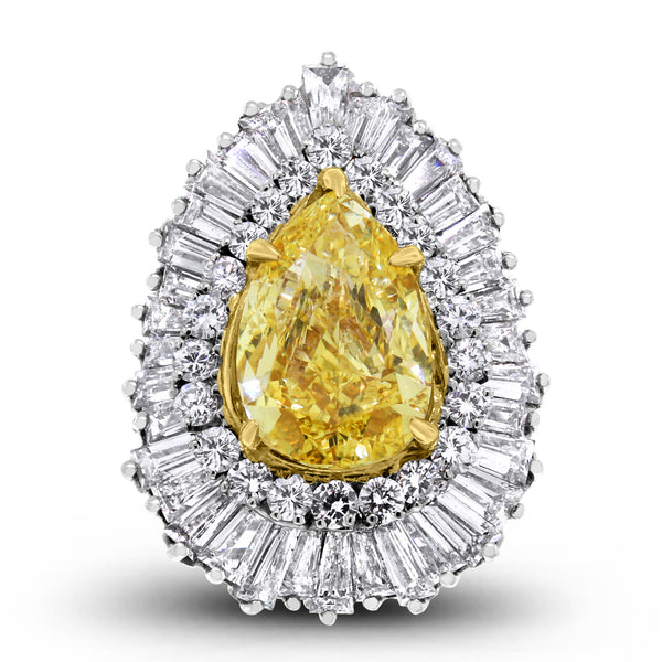 Vibrance Ring & Pendant (5.01 ct Pear Shape Fancy Intense Yellow SI1 GIA Diamond) in Platinum