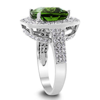 The Green Tourmaline Ring (6.59 ct Tourmaline & Diamonds) in White Gold