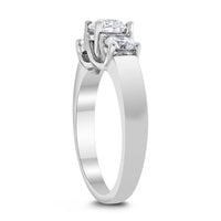 3 Stone Engagement Ring (1.10 Round ISI1 Diamond) in White Gold
