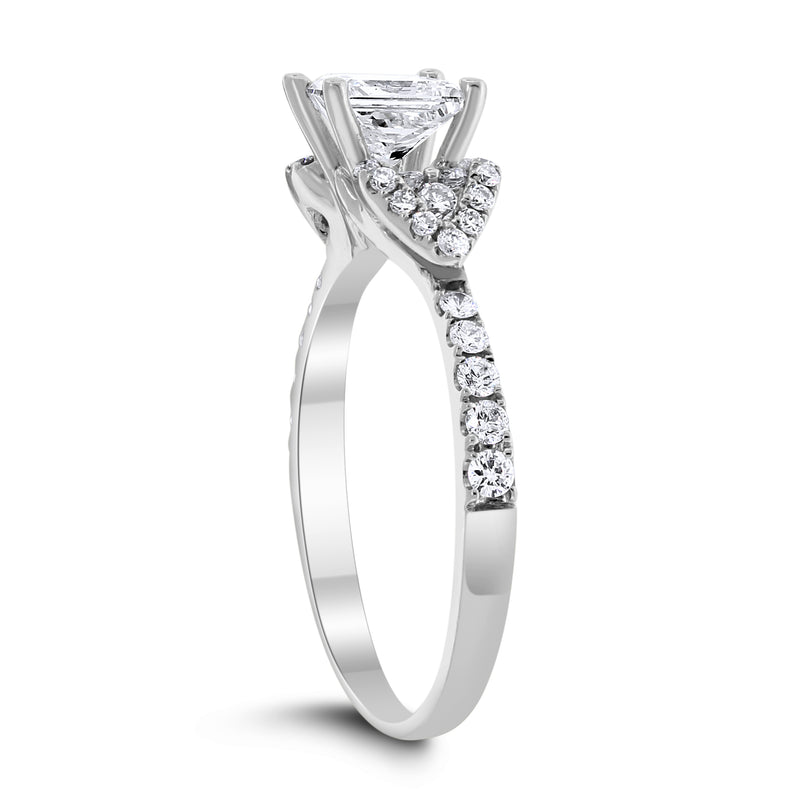 Love Engagement Ring (0.71 ct Princess GVS Diamond) in White Gold