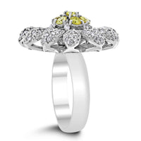 Sunflower Diamond Ring (1.74 ct Diamonds) in White Gold