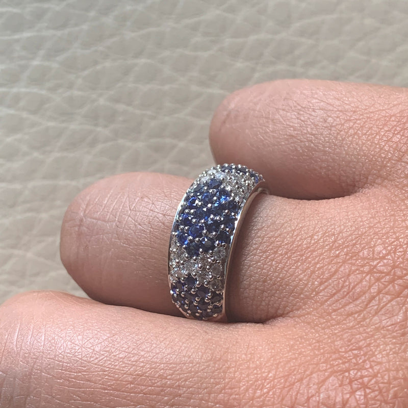 Tapestry Sapphire & Diamond Band (2.17 ct Diamonds & Sapphires) in White Gold
